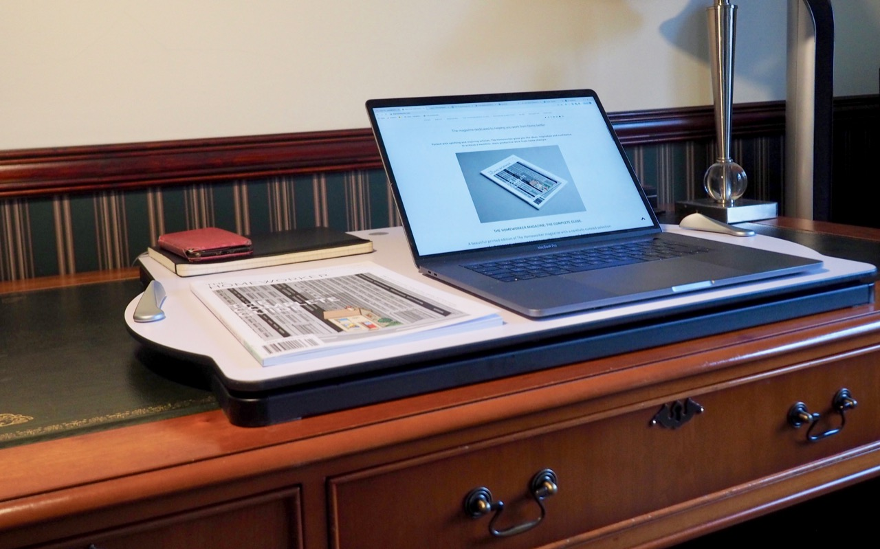 The Opløft sit stand desk by Posturite place on home office desk:  review by The Homeworker magazine