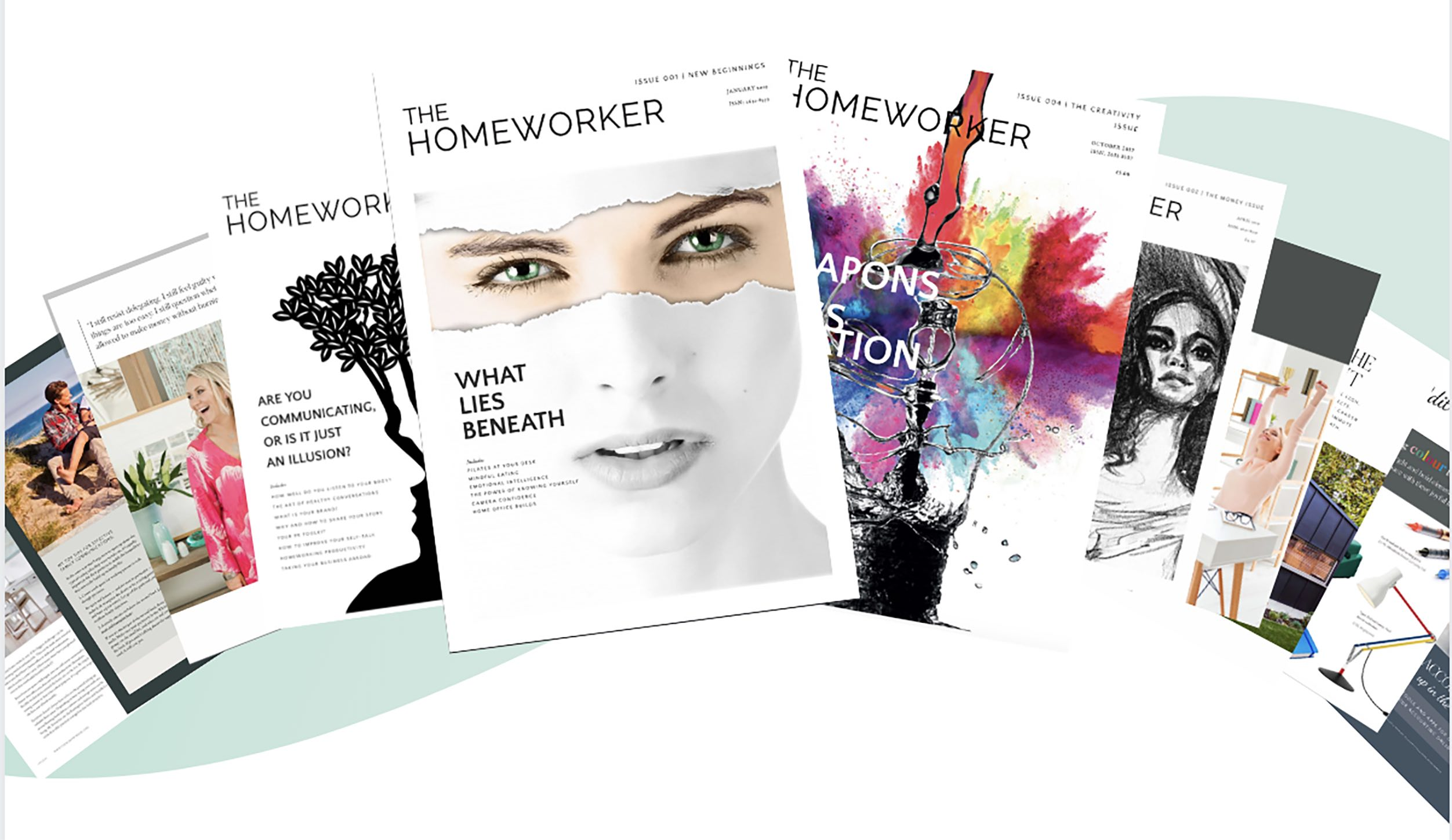 The Homeworker magazine covers issues 1,2,3,4