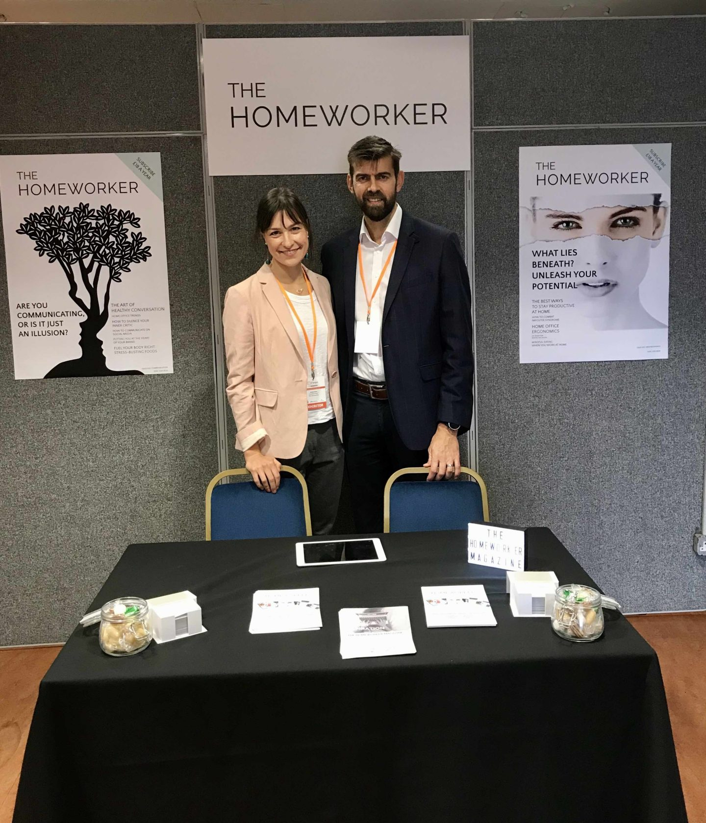 Louise Goss and James Edmondson with The Homeworker at Flexpo, flexible working, working from home support