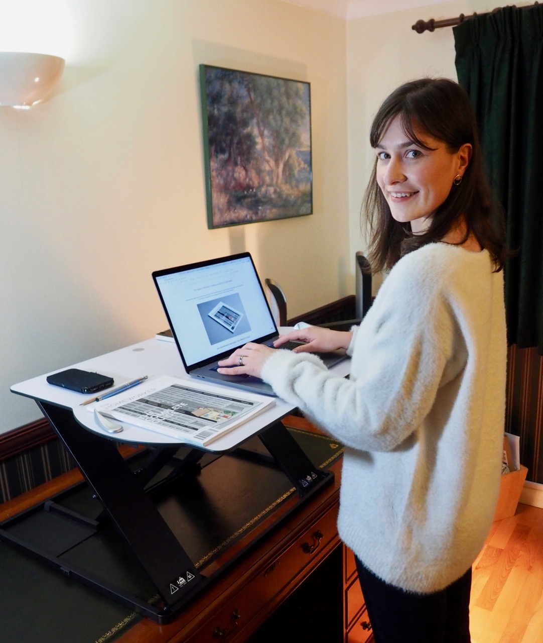 louise goss posturite oploft standing desk review for the Homeworker