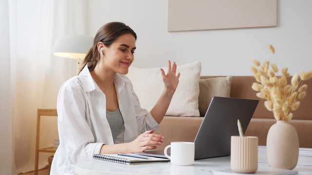woman working from home building an online community