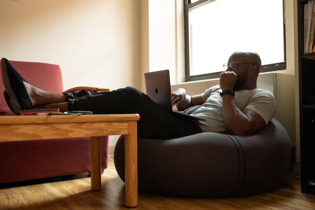 man using work from home broadband