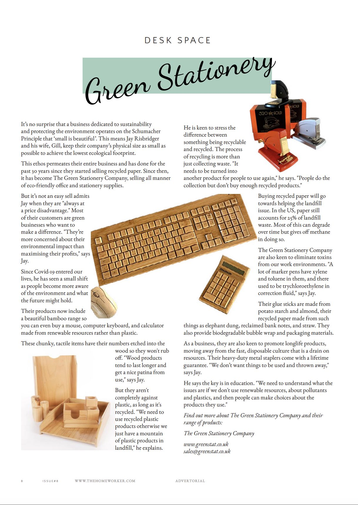The Green Stationery Company in The Homeworker Magazine