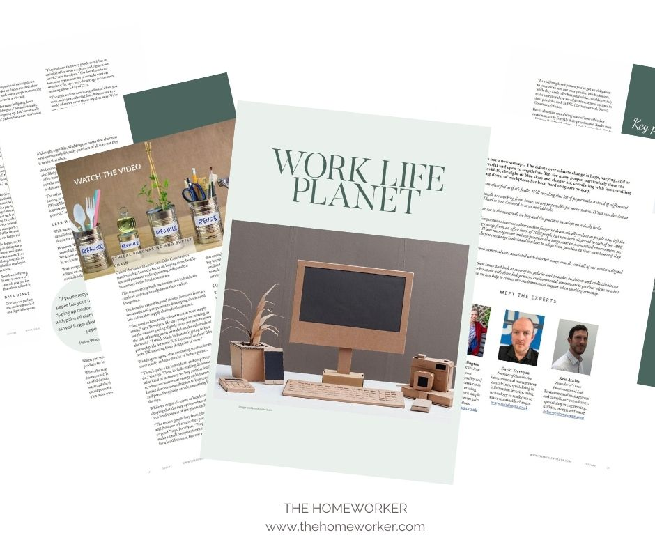how to be more sustainable when you work from home - The Homeworker magazine article