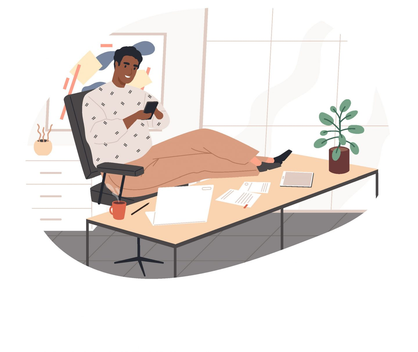 man working from home on phone