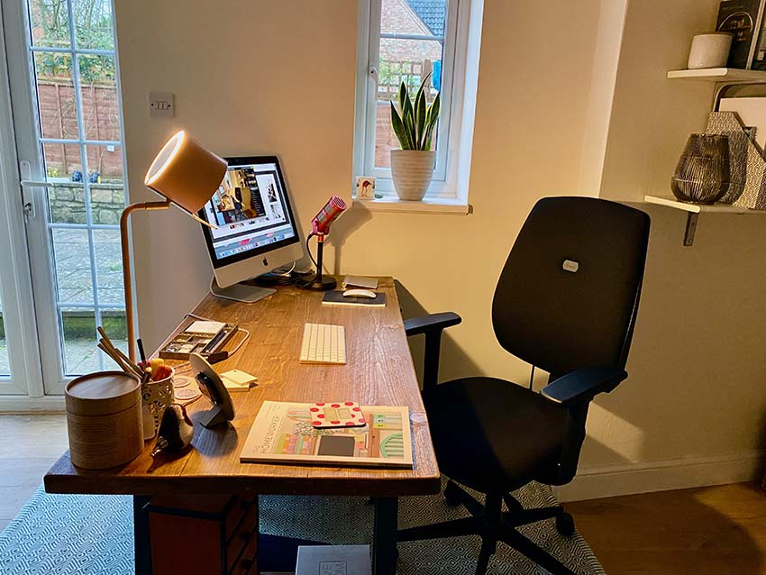 homeworker home office desk and home office equipment