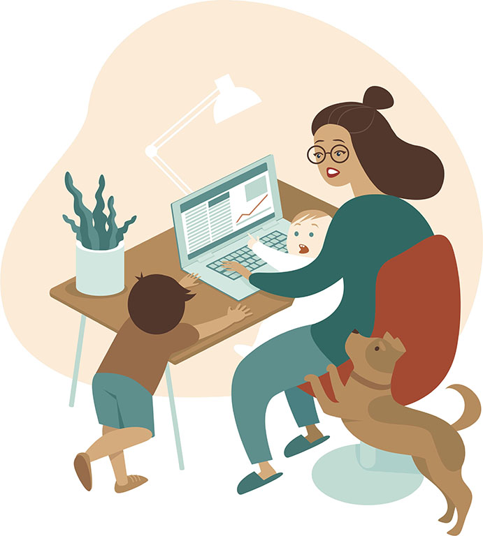 busy mum working from home future of work