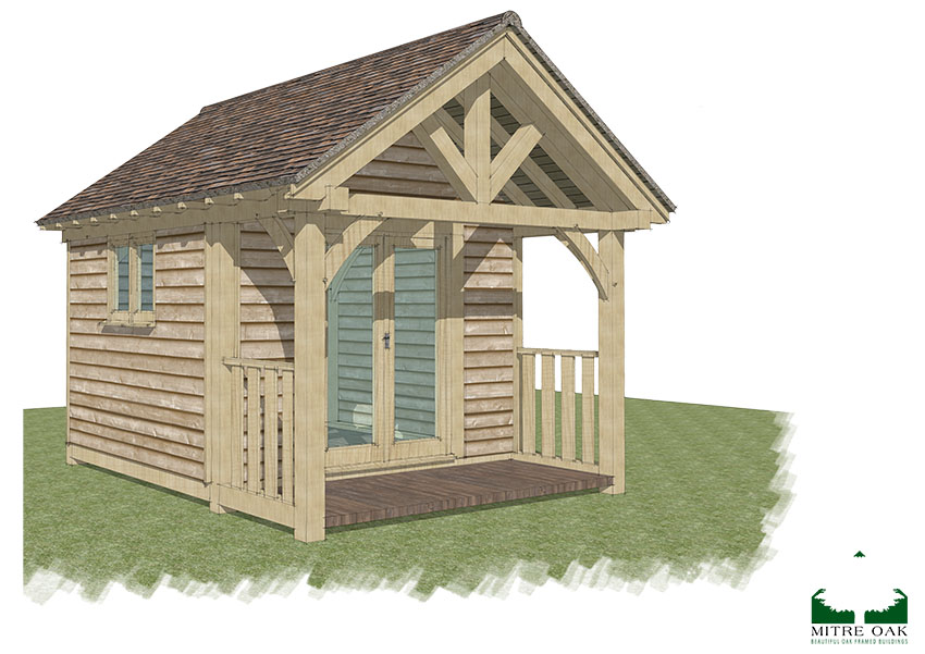 garden office kit, The Snell, Mitre Oak