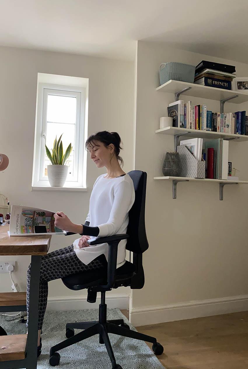 The Homeworker editor sitting n The Homeworker Plus ergonomic chair