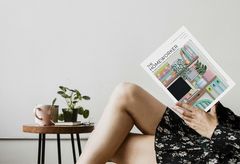 woman reading the homeworker magazine