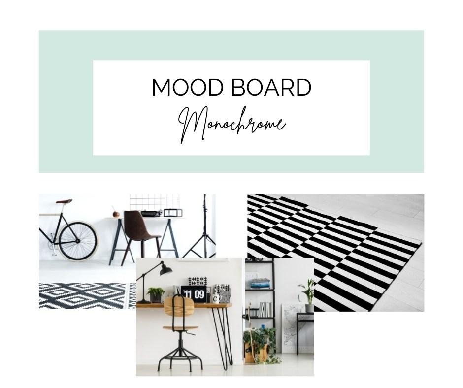 monochrome home office mood board