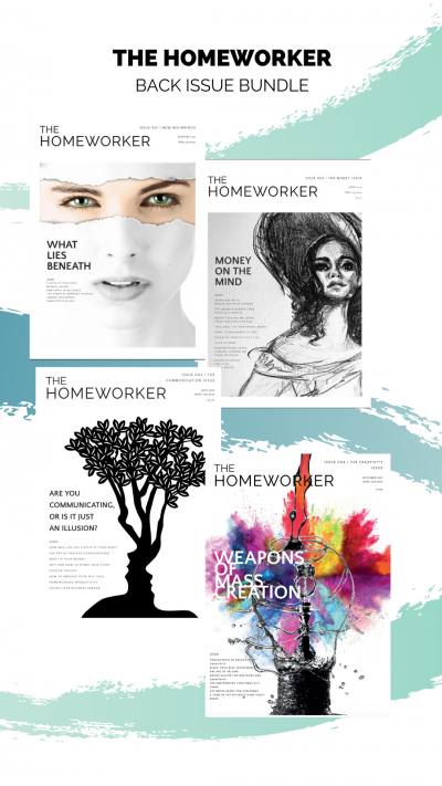 THE homeworker magazine covers. back issues for working from home, communication, creativity, money and mindset
